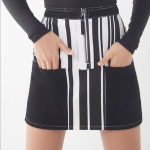BDG Ruby Striped Zip-Front Skirt
